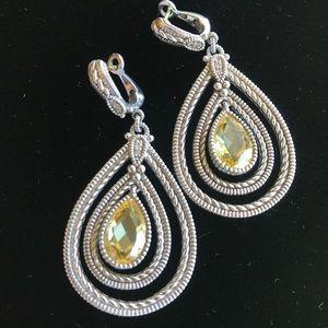 Judith Ripka Citrine Drop & Diamond Earrings 18k